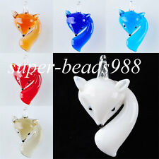 Clever Fox Lampwork Glass Pendant Bead Animal Murano for Necklace Gift SBW011
