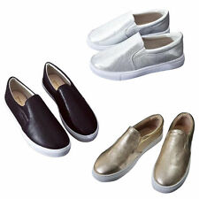 Womens PU Leather Flats Slip On Canvas Sneakers Lady Suede/PU Ballet Flats Shoes