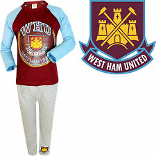Boys West Ham United Pyjama Set Kids Pjs Shirt Nightwear Football Gift Long