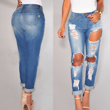 NEW Women High Waisted Denim Jeans Distressed Jeggings Lady Stretch Long Pants