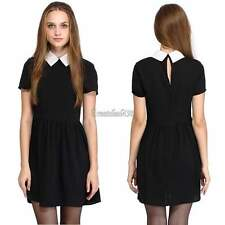 Women Short Sleeve Black Block Shift White Collar Cuff Fit Peter Pan Mini Dress