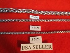 """3/4/7MM Mens 7-40"""" Stainless Steel Silver Braided Wheat Chain Necklace"""