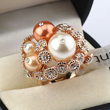 Simulated Pearl Cocktail Fashion Ring 18KGP use CZ Rhinestone Crystal Size 5.5-9