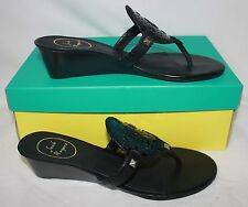 Jack Rogers Devyn Wedge sandals Black Patent Leather Thong Shoes New With Box!