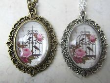 "Vintage Pink Rose Bird Cage Print Cameo 18"" Necklace Bronze / Silver New in Bag"