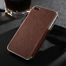 Brown Leather Chrome Hard Case Cover For iPhone 4 4s 5 5s 6 + Screen Protector