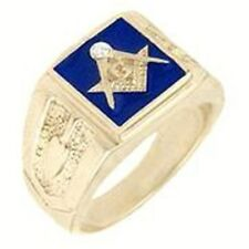 18K GOLD EP MASONIC FREEMASON BLUE MENS CZ RING size 8-14 YOU CHOOSE mason 33