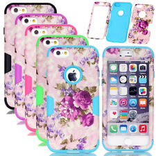 Purple Flower Pattern Rugged PC Silicone Combo Matte Cases For iPhone 6 6S Plus