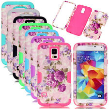 Rugged Flower Pattern PC Silicone Combo Matte Cases For Samsung Galaxy Series
