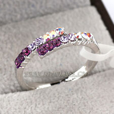 Fashion Ring 18KGP CZ Rhinestone Crystal Size 5.5-8