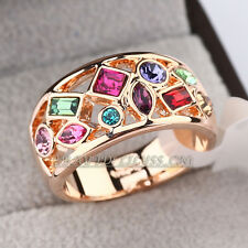 B1-R617 Fashion Rhinestone Multi-Color 18KGP Ring Swarovski Crystal Size 5.5-9