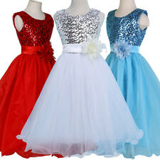 GIRLS SEQUINS PARTY DRESS FLOWER GIRL PRINCESS WEDDING PAGEANT BRIDESMAID 2-12 Y