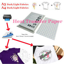 Hot Lot T-Shirt Inkjet Iron-On Heat Transfer Paper For Dark/Light Fabric A3 A4