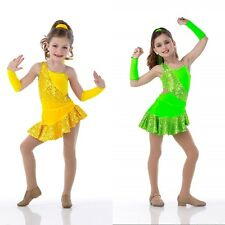 RIO Jazz Tap FLO GREEN No Mitts Asymmetrical Ballet Dance Costume Child & Adults