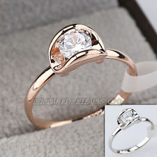 Fashion Solitaire Ring 18KGP CZ Rhinestone Crystal Size 5.5-9