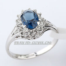 Fashion Simulated Sapphire Wedding Ring 18KGP CZ Rhinestone Crystal Size 5.5-9