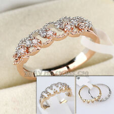 Micro Inlays 2 in 1 Fashion Ring 18KGP CZ Rhinestone Crystal Size 5.5-8