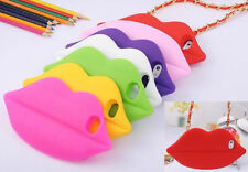 Luxury 3D Sexy Lip Shape Soft Silicone Case Cover W/ Chain Strap for iPhone 5 5S