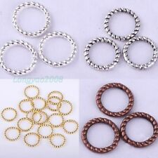 New Tibetan Silver Twist-Ring Charm Link Rings Finding For Jewelry Making 60pcs