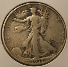 1937-S ~~ WALKING LIBERTY  HALF DOLLAR ~~ SILVER~~VF+