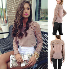 2015 Womens Lace Crochet Loose Pierced Casual Long Sleeve T-Shirt Tops Blouse
