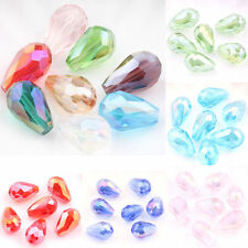 10/50Pcs Faceted Teardrop Glass Crystal Loose Spacer Beads Charms DIY Findings