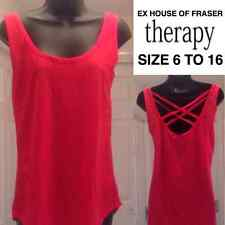 Women's Ladies Vest Top Rose Pink Back Lattice Lace Camisole Ex House Of Fraser