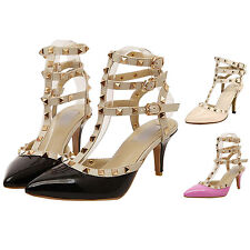 Women's Punk Rivet Studded Sexy Patent Pointed Toe 6.5 Inch High Heels Shoes