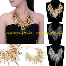Fashion Tribal Chain Multicolor Rivet Chunky Choker Statement Collar Necklace