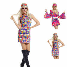 60s 70s Fancy Dress Costume Flower Power HIPPY HIPPIE RETRO GOGO PARTY