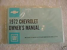 1972 72 CHEVY CHEVROLET IMPALA  BELAIR OWNERS MANUAL