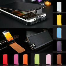 For Samsung Galaxy Luxury Glossy GENUINE Real Leather Fitted Flip Case Cover
