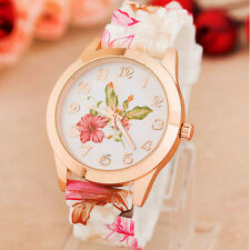 2015 Fashion Womens Wrist Watch Flower Rose Silicone Casual Girl Watch Wholesale