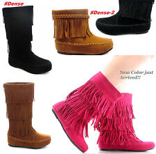 Girl's Kid's Suede Fringe Tassel Moccasin Faux Suede Fashion Girls Boots Shoes