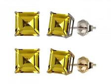 10k White or Yellow Gold 6mm Square Lab-Created Yellow Sapphire Stud Earrings