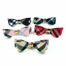 Plaid Grid Tartan Check Bow Knot Barrette Hair Pin Clip Accessory Gold Metal New