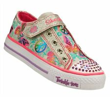 New Girl's Skechers 10289L Twinkle Toes Shuffles Glow Girl Light Up Shoes (X213)