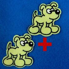 2 Dog Poppy Iron on Sew Patch Cute Applique Badge Embroidered Animal Baby Lots