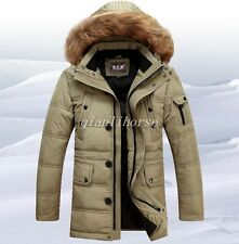 Mens Fashion Fur Collar Hooded Thick Long Jacket Zip Warm Dock Down Outdoor Coat