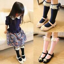 Infant Girls Kids Cotton Knee High Socks Organza Bow Pattern 6 Color 1-5Y E24