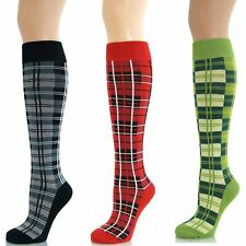 Womens Ladies Girls Knee High Tartan Checked Checkered Plaid Long Socks New