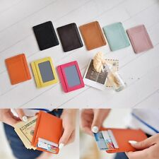 Soft Leather Slim Small ID Credit Card Holder Wallet Purse Case Women Men Unisex