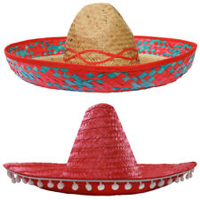 RED SOMBRERO HAT MEXICAN STRAW ACCESSORY HOLIDAY HEN STAG BANDIT FANCY DRESS