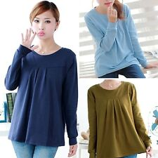 New Pregnant Women Tops Pleated Casual Cotton Long-sleeved T-shirt Loose Gifts