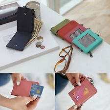 Leather Zip Bifold Necklace Card Holder Wallet Purse Credit ID Coin Billfold New