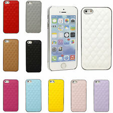 Deluxe Rhomboic Sheepskin Leather Chrome Hard Case Cover For Apple iPhone 4 4S