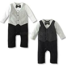 Baby Boy Wedding Formal Party Bow Tie Tuxedo Suit Romper Jumpsuit Outfit Clothes