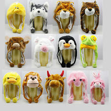 Unisex Cartoon Animals Hat Fluffy Plush Beanie Warm Winter Hooded Cap Earmuff