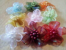 10 Satin Glitter Ribbon Flowers with Faux Pearls Beads Appliques