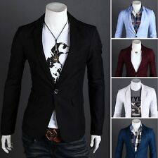 New! Fashion Stylish Men Casual Slim Fit One Button Suit Blazer Coat Jacket Tops
